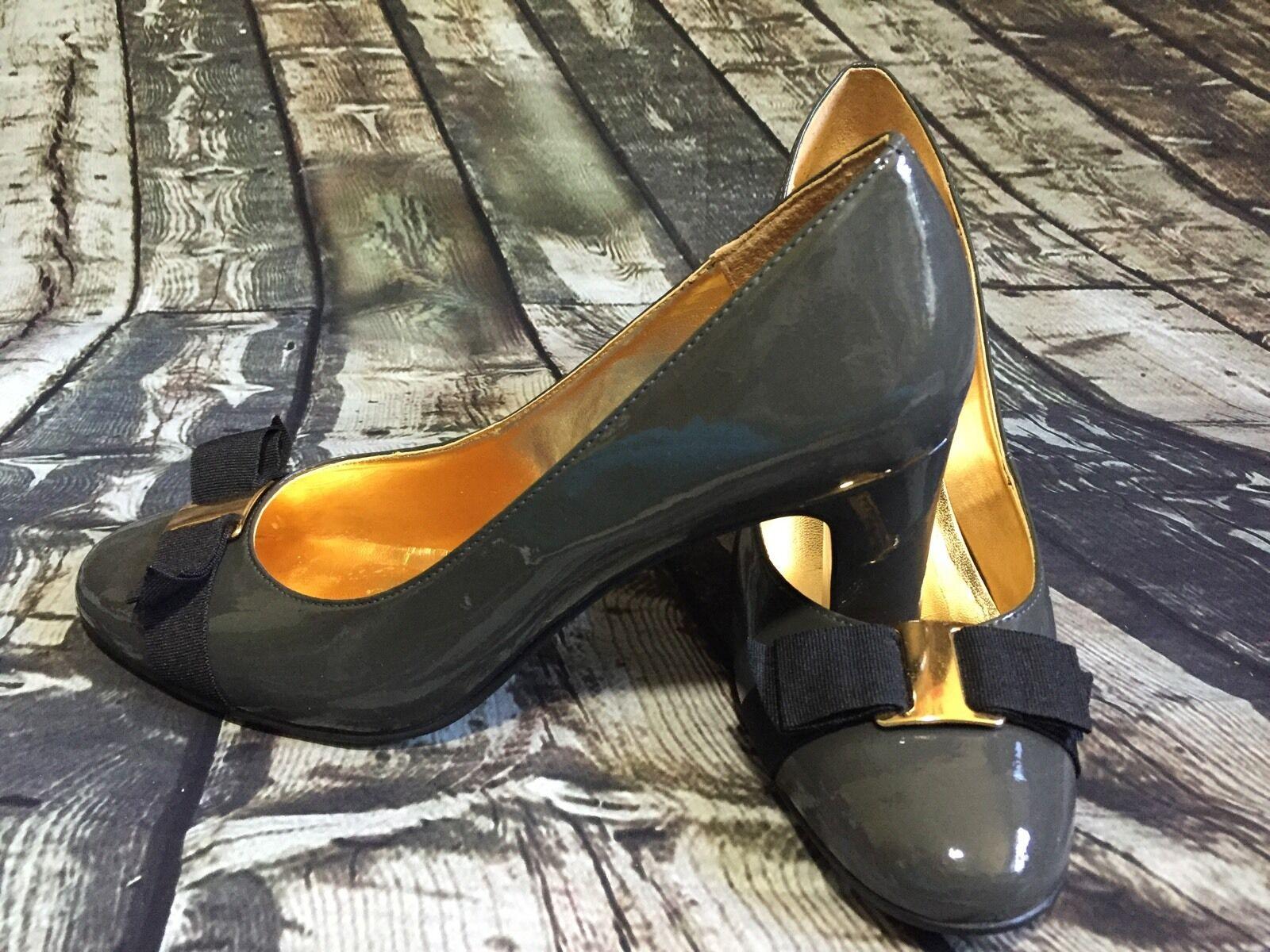 Nine West Women's Shoes Dress 3 in Heel Emerylr Patent Leather SZ 9 1/2 Gray