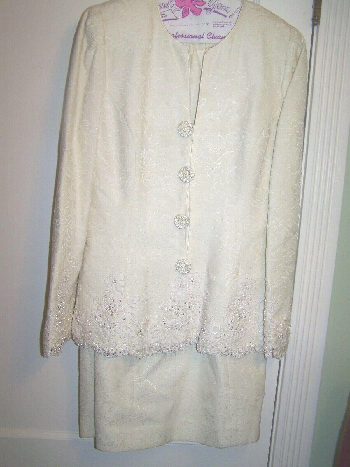 Karen Lawrence by Matthew Cream Skirt Suit Blazer Wedding Formal Size 10 RS11