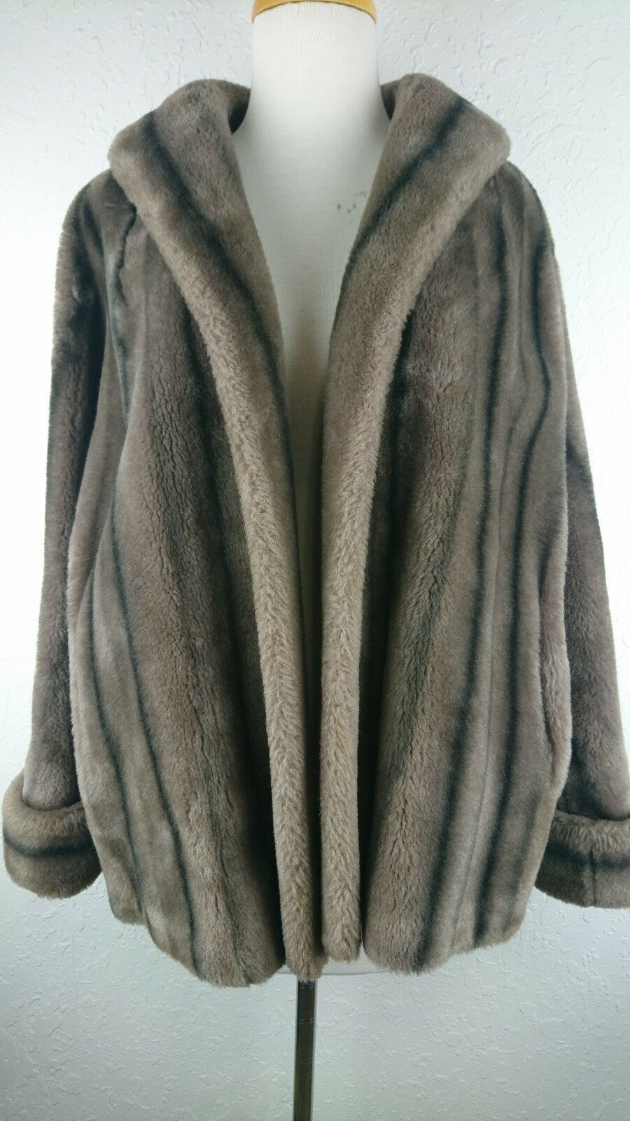 Vintage Princeton's Mutation S   M Natural Brown Faux Fur Mink Coat 3 4 Sleeve G