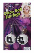 1970s Clip Big Disco Ball Earrings Mirror Glitter Silver Night Fever Fancy Dress
