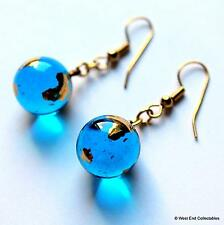 13mm 22ct Gold Planet Earth Glass Marble Earrings - Telescope Astronomy Globe