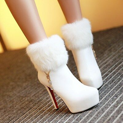 2017 Womens Ladys Side Zip Faux Fur Slim High Heel Winter Ankle Boot Shoes 4-11