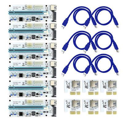 6x Ver 008s Pci E Usb 3 0 1x To 16x Extender Riser Card Adapter Btc 6 Pin 8 Gpu Ebay