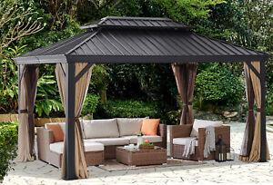 Resort-10-x-10-Hardtop-Gazebo-Sun-Shelter-Aluminum-Frame-w-Curtains-and-Netting