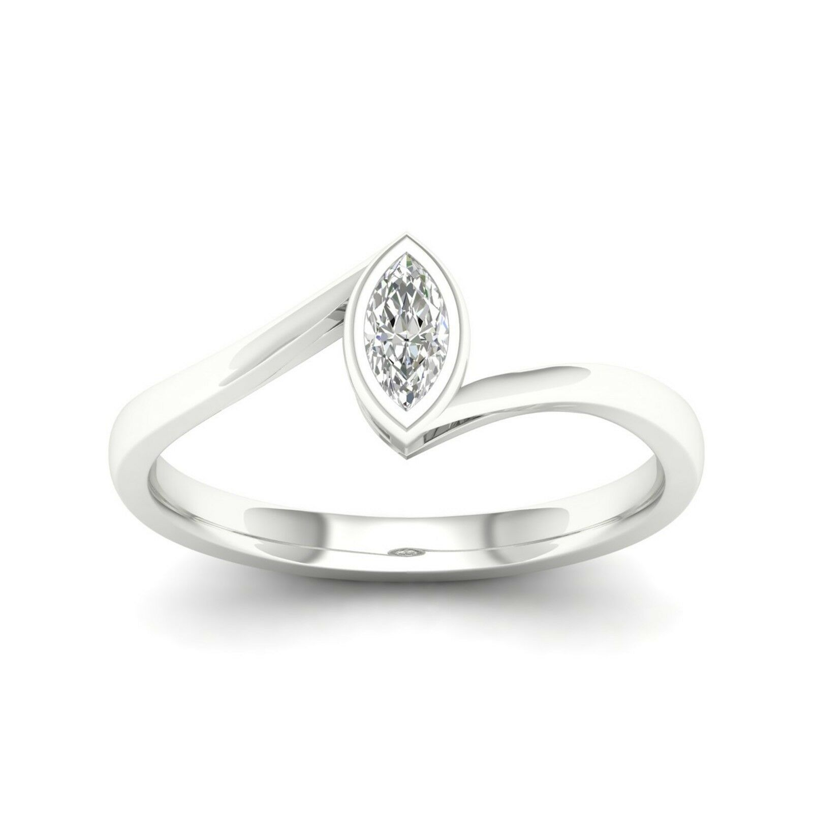 10k gold 0.20Ct TDW Marquise Diamond Solitaire Promise Ring