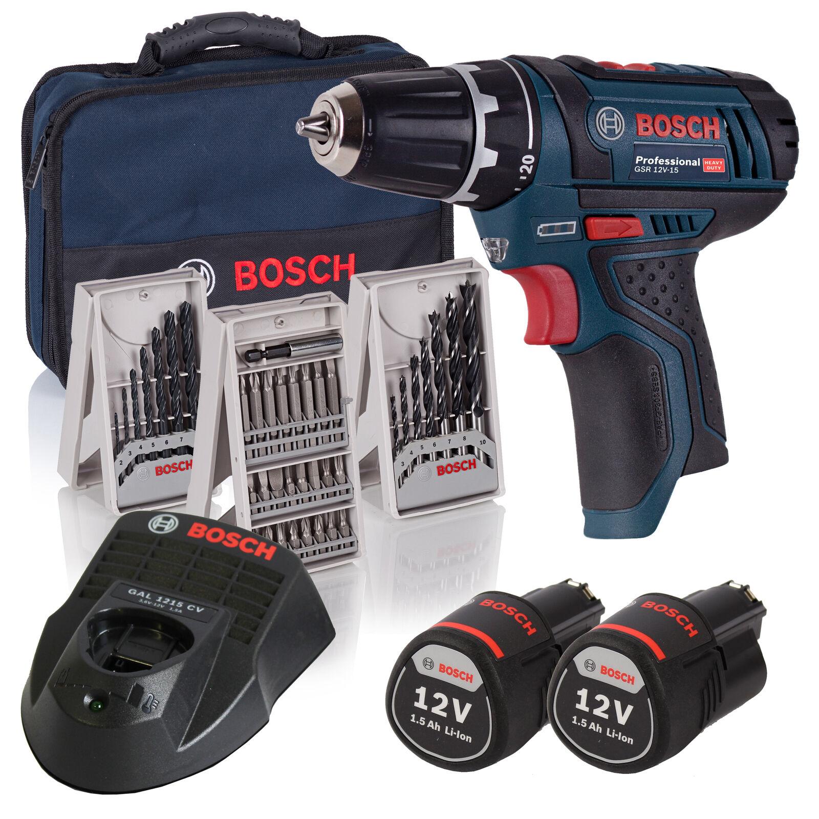 Bosch Akku-Bohrschrauber Set GSR12V-15 2x 1,5 Ah Akkus + Lader im Set in Tasche