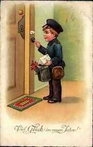 Capodanno ~ 1920 Happy New Year postcard vecchia cartolina bambino ragazzo come postino