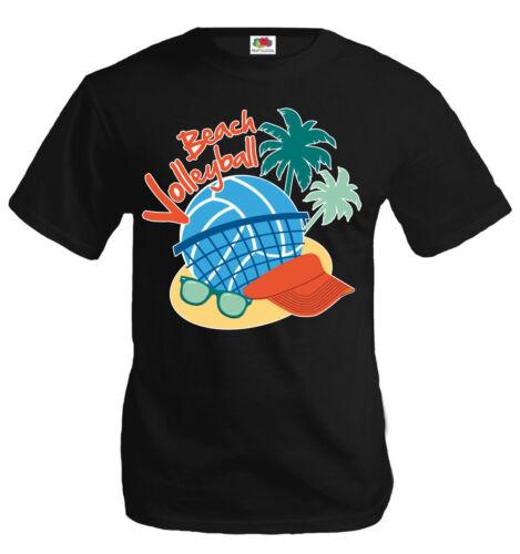 buXsbaum® Herren Unisex T-Shirt Beachvolleyball Strand Palmen Sonnenbrille Team