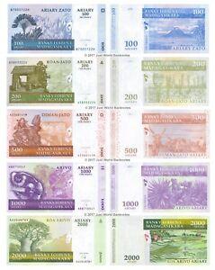 MADAGASCAR-100-200-500-1000-2000-Ariary-Set-di-5-BANCONOTE-5-PZ-UNC