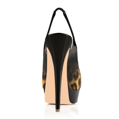 Onlymaker Women Leopard Slingback Sandals Peep Toe Platform High Heel Club Shoes