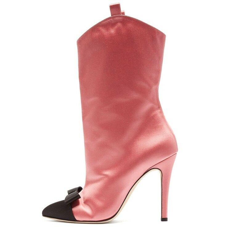 Zapatos de fiesta arcos arcos arcos de la mitad de la Pantorrilla para Mujer botas tacones altos en Punta de Satén de Moda Nuevo cb210f