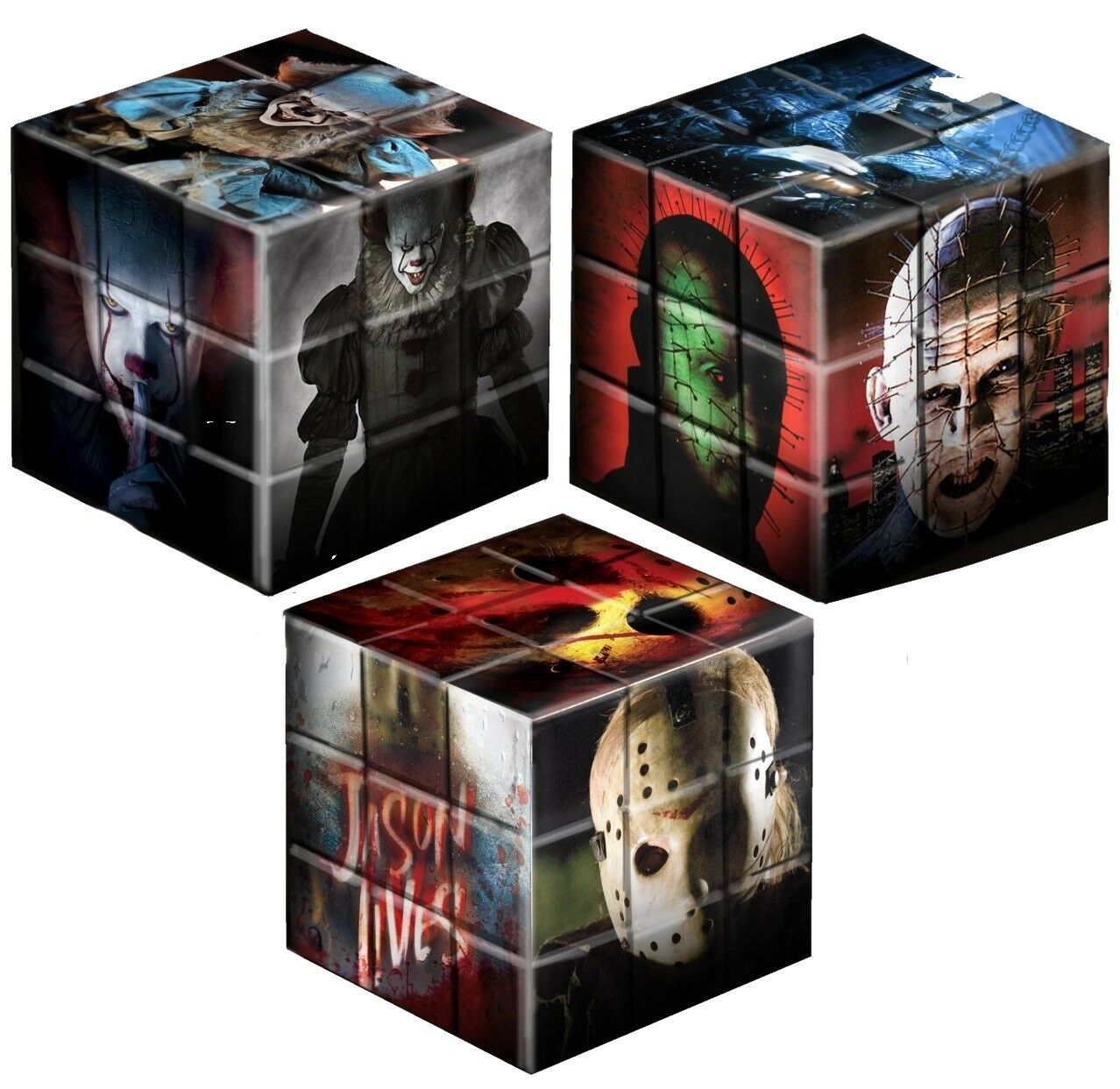 Friday the 13th, IT & Hellraiser Puzzle Blox Set of 3 Pennywise Pinhead  Mezco