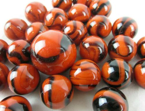 25 Glass Marbles BENGAL TIGER Orange//Brown Stripe Shooter vtg style game Swirl