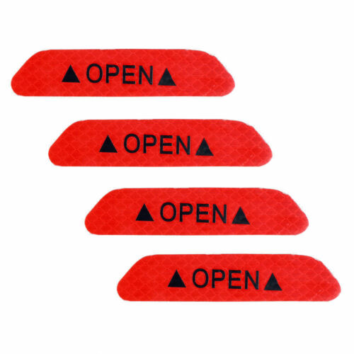 4x Super Red Car Door Open Sticker Reflective Tape Safety Warning Decal US Stock