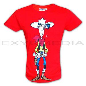 T-Shirt-LUCKY-LUKE-Lizenz-Shirt-rot-red-Comic-Morris-Kult-Western-Cowboy