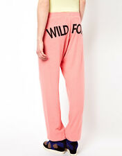 WILDFOX COUTURE FOX TIME CORAL PETAL SWEAT JOGGING PANTS S 10 38!