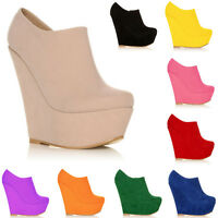 WOMENS PLATFORM HIGH HEELS WEDGE SUEDE SHOES ANKLE BOOTS WEDGES SIZE UK 2- 9 NEW