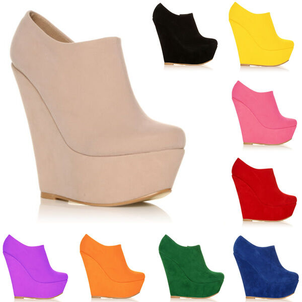 Womens Platform High Heels Wedge Suede Shoes Ankle Boots Wedges Size AU 3.5-8.5
