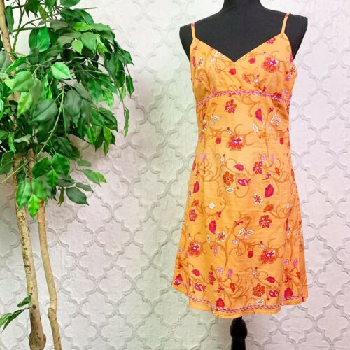 Vintage Early 2000s Y2K Orange Floral Sleeveless M