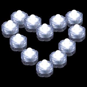 12 Pack~White~Sub<wbr/>mersible Waterproof Underwater Battery LED Tea Light~Wedding