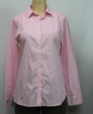 Croft   Barrow Women s Easy Care Stretch Shirt Long Sleeve Striped Rose  White S 8aff5cb5d