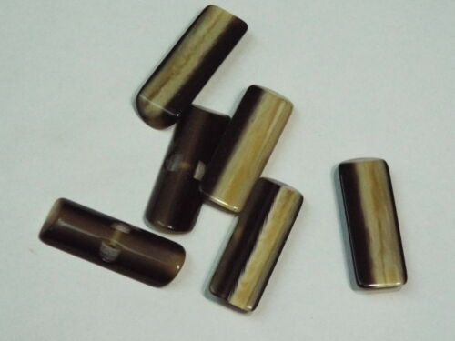 5pc 28mm Brown and Beige Mock Wood Effect loop Back Toggle Button 2516