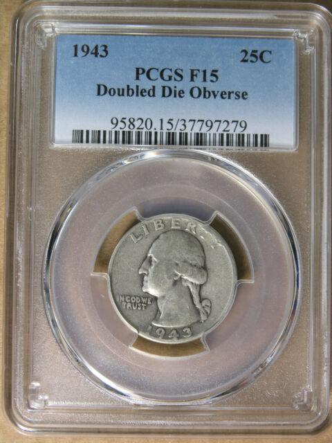 25c 1943 Washington Quarter Double Die Obv  FS-103 PCGS F15 RARE! *  AvenueCoin