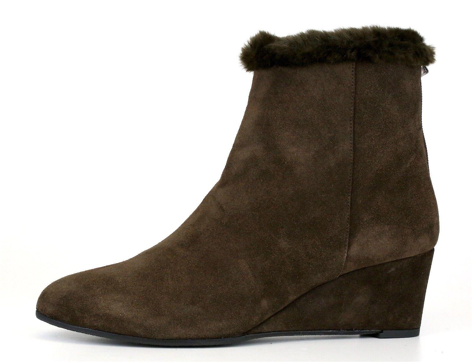 Aquatalia By Marvin K Jinx Fur Trimmed Suede Ankle Boot Brown Women Sz 6.5 5137*