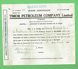Image Is Loading T42 1928 TIMOR PETROLEUM COMPANY SHARE CERTIFICATE  MELBOURNE   Company Share Certificates
