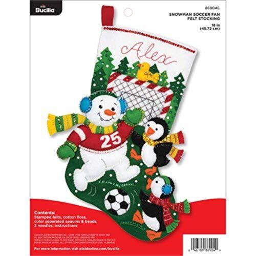 """Bucilla apliques de fieltro Media Kit 18/"""" Ventilador de fútbol de muñeco de nieve larga"""