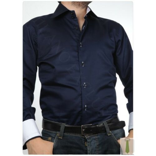 BIANCO o Nero Slim Fit Camicia con collo a contrasto-Designer Italiano
