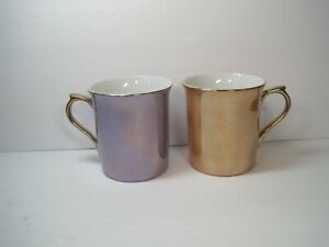 Rare-Pottery-Barn-Iridescent-Purple-amp-Orange-Set-Of-2-Coffee-Mugs-Made-In-Japan