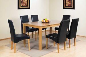 Oak Finish Solid Wood Rectangular Dining Table Range With