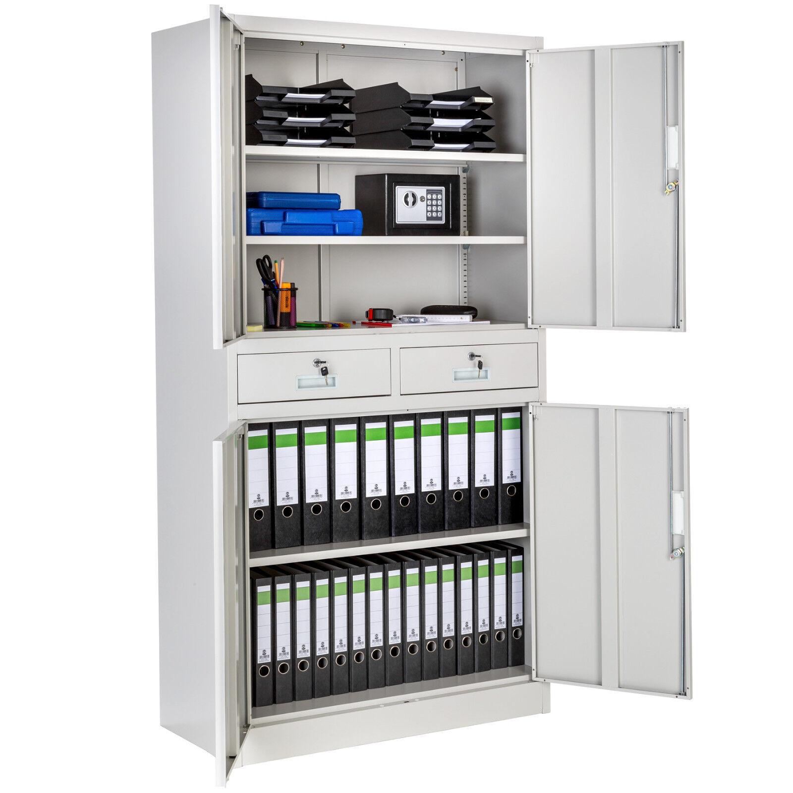 90x40x180cm Büroschrank Aufbewahrungs Aktenschrank Metallschrank Stahlschrank