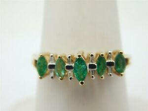 10K-YELLOW-GOLD-25-CARAT-MARQUISE-EMERALD-BAND-RING-SIZE-6-75-DIAMOND-ACCENTS