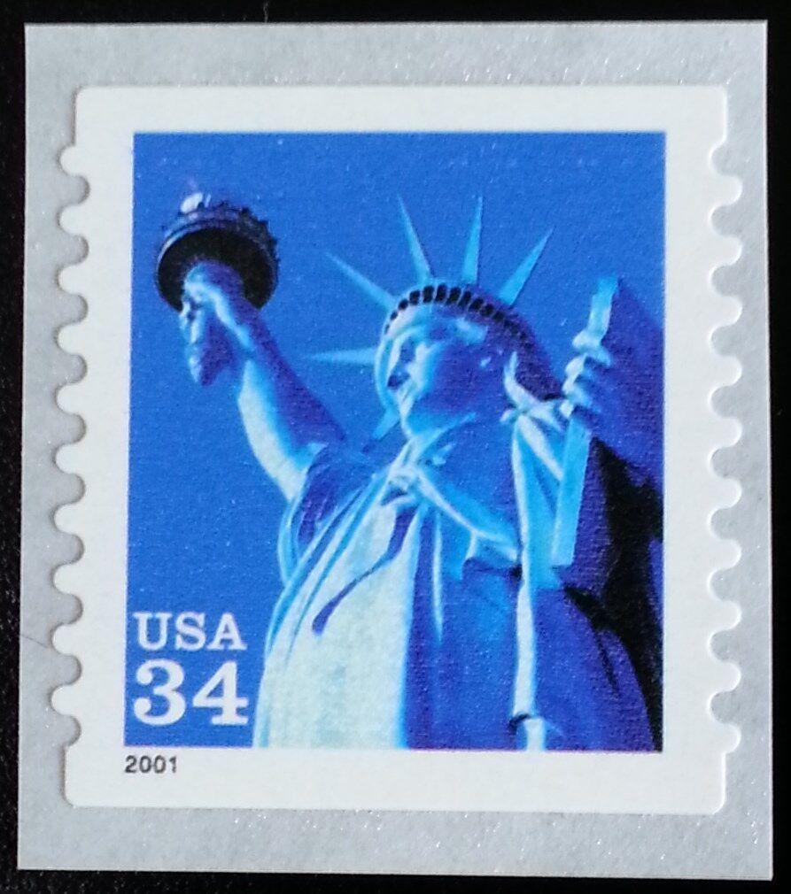 2001 34c Statue of Liberty, Coil, SA Scott 3466 Mint F/