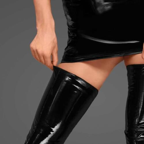 NOIR HANDMADE Lack Beinstulpen Lackstruempfe PVC Vinyl Strapse Stockings HoldUps
