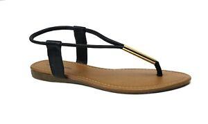 8018 Women/'s Gladiator Sandal Y-Strap Metal Tube Slip On Sling Back Flat**