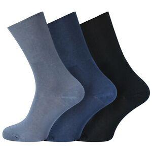 Mens 3 Pairs Non-Elastic Diabetic Wellness Bamboo Socks Size UK 6-11 - BLUE MIX