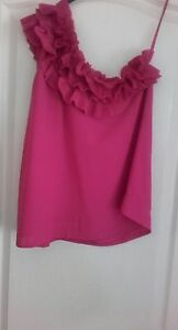 Brand-New-with-tags-H-amp-M-1-shoulder-top-with-ruffles-bang-on-trend-size-10