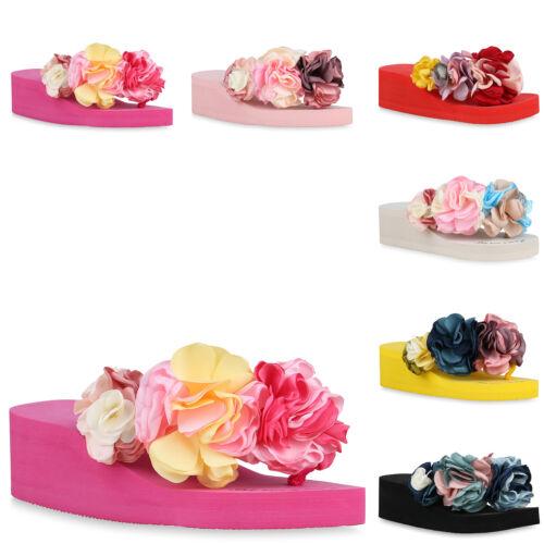 Damen Plateau Sandaletten Zehentrenner Keilabsatz Schuhe 826377 Trendy Neu