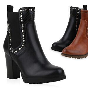 Damen Klassische Stiefeletten Gefütterte Blockabsatz Boots 832081 Schuhe