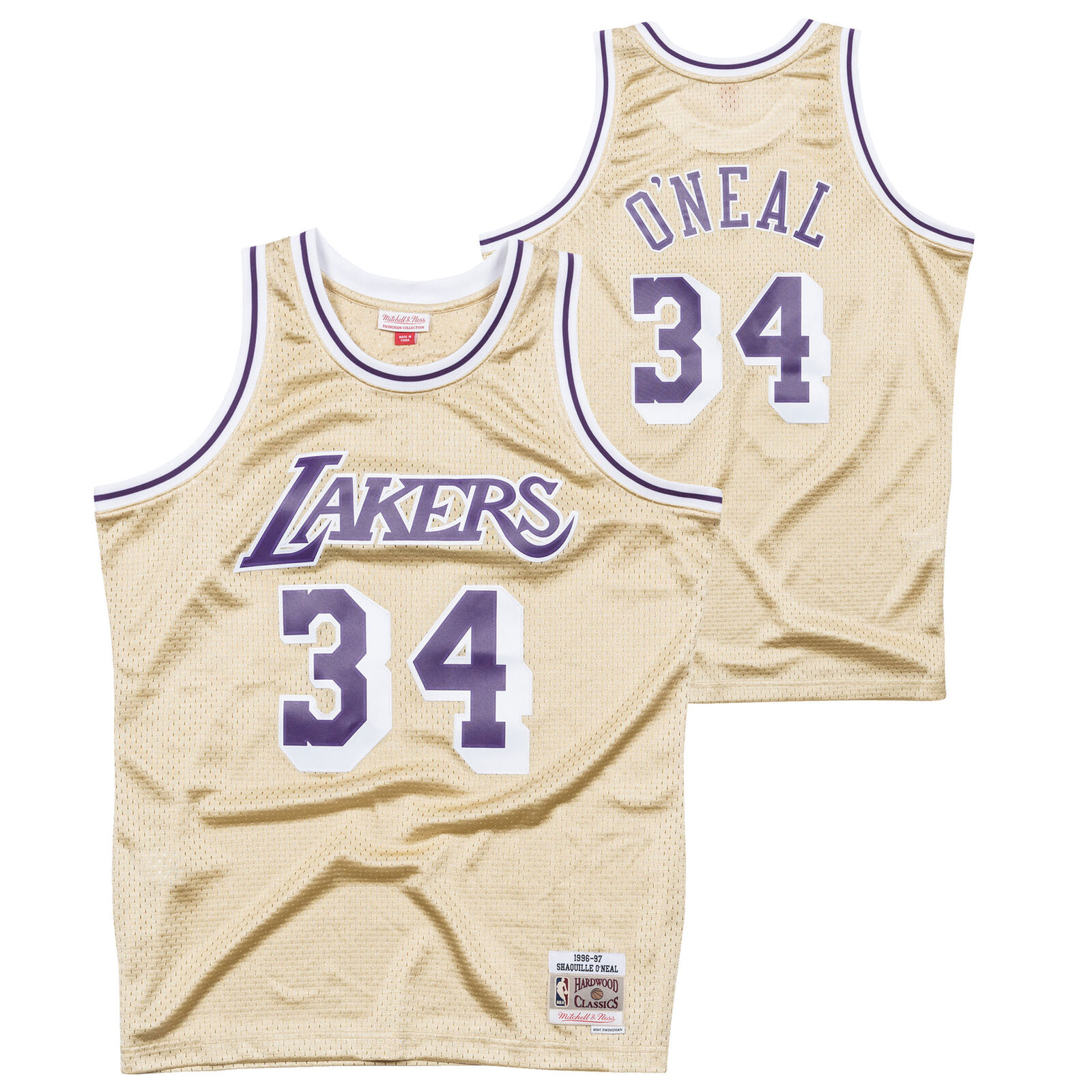 Los Angeles Lakers Shaquille O Neal Hardwood Classics 1997 gold Swingman Jersey