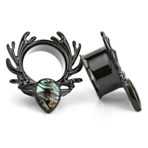 Stainless Steel  Deer Screws Ears Gauges Flesh Tunnel Plug Stretcher Expander GD