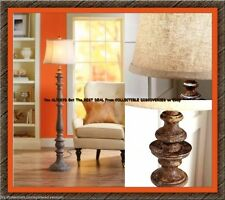 "61"" Better Homes RUSTIC Distressed Wood Look 3-Way FLOOR LAMP w/ Textured Shade"