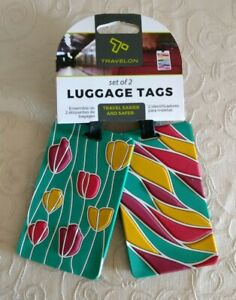 NWT-Travelon-2-pk-PVC-Floral-Tulips-Luggage-Tags-Travel-Bag-Tote-Accessories