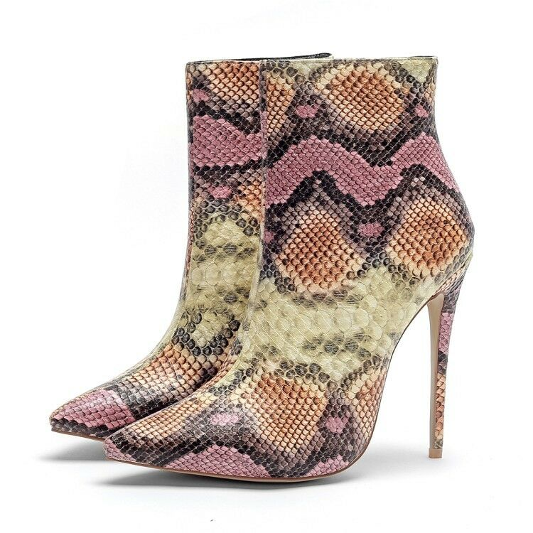 Women Stiletto Heels Ankle Boots Pointy Toe Multi-colored Side Zip Casual Shoes