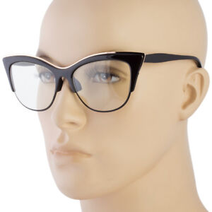 ce058a11f9 Large Cat Eye Clear Lens Glasses Metal rims 50s Vintage Women Retro ...