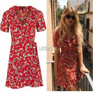 158a5a3736 Image is loading Topshop-Celebrity-Blogger-Red-Floral-Daisy-Frill-Wrap-