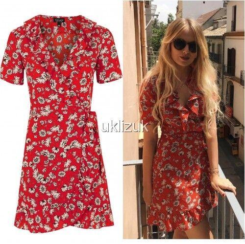 8 Blogger Celebrity Daisy Red Topshop Wrap Taglia Floral Dress zR85fq